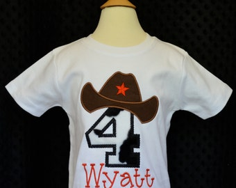 Personalized Birthday Cowboy Hat Applique Shirt or Onesie Girl or Boy