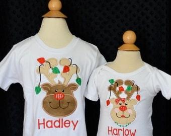 Reindeer with Lights Applique Shirt or Onesie Boy or Girl