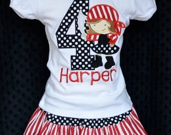 Personalized Birthday Girly Pirate Applique Shirt or Onesie Girl or Boy