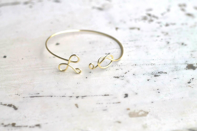 Knot bracelet, tie the knot cuff, initial bangle, personalized bracelet, bridesmaids bracelet, bridal jewelry, eternity jewelry