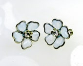 Flower Blossom Earrings Ice Blue On Silver Tone Metal Rhinestone Center 1950's Collectible Gift  Item 1374