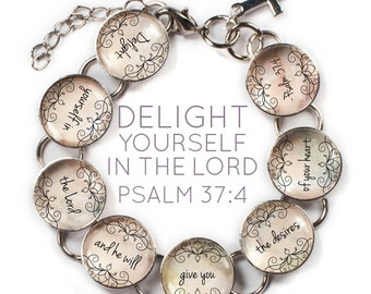 "Delight Yourself in the Lord - Psalm 37:4 Scripture Charm Bracelet, 6.75""-8.75"""