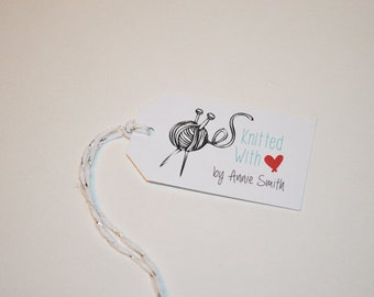 Knitted With Love - Customized Product and Merchandise Tag - Small Custom Knitting Tags, Sewing Tags, Quilting Tags