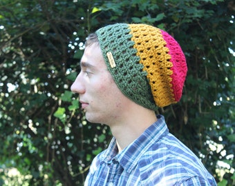 Crocheted Slouchy Beanie in Rasta Colors