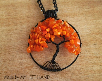 Carnelian necklace Tree Of Life necklace Black Wire Wrapped Necklace Orange Tree of life pendant  Helloween Pendant Free shipping