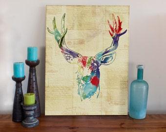 Oh Deer Art Print - Stretched Canvas Print - Watercolor Splatter Deer Watercolor Mixed Media Art Painting
