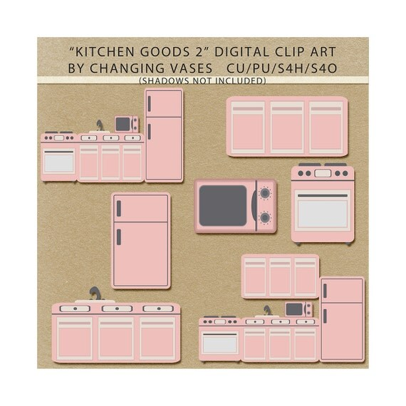 beautiful Baby Pink Kitchen Appliances #7: Light Pink Kitchen Clipart Clip Art Graphics, Kitchen Appliances, Microwave  Refrigerator Stove Kitchen Scenes