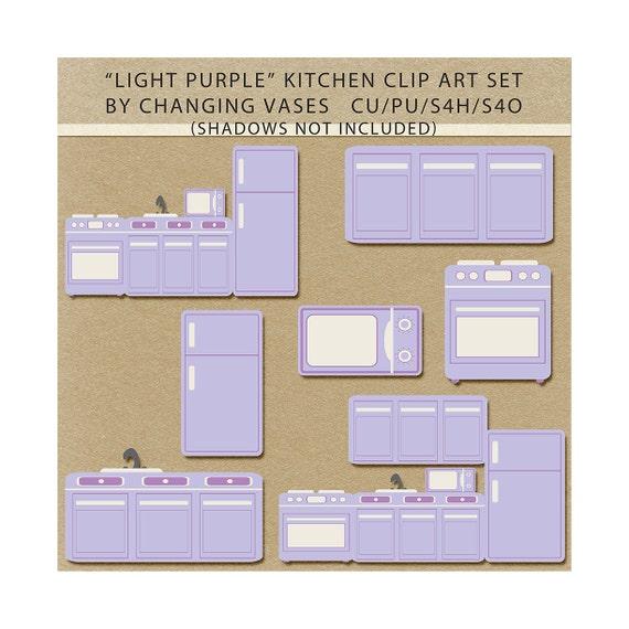 Items Similar To Light Pastel Purple Kitchen Clipart Clip