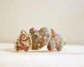 Vintage Fabric Heart Bracelet. Neutral Tone Fabric Bracelet. Triple Heart. Soft Brown Fibre Jewellery. Christmas Heart Jewelry.