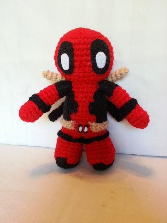 Crochet Wedding Dress Pattern Doll : Items similar to Deadpool Amigurumi Plush / crochet ...