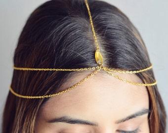 THE HERA Gold Hair Chain Crystal Diamond Hair Jewelry Sexy Head Boho Festival Prom Wedding Headpiece head chain Coachella Festival Summer