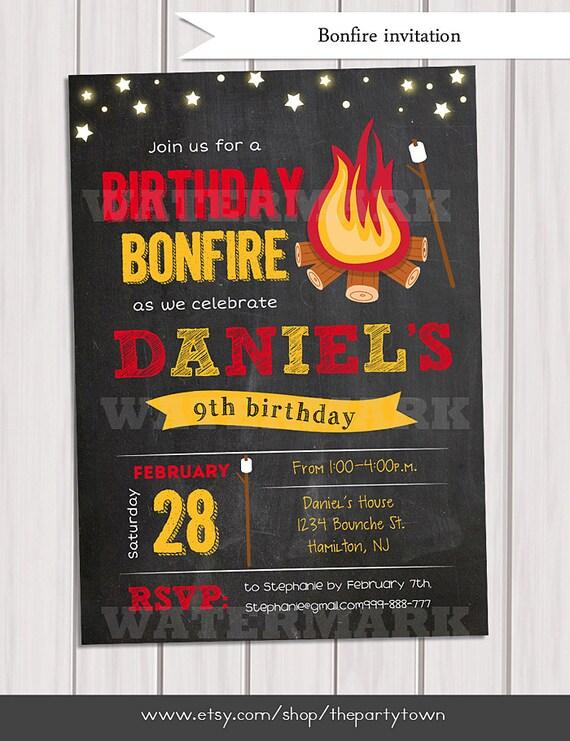 Bonfire Birthday Invitation Camp Invitation Smores