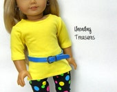 18 inch Doll Clothes, Girl Doll Clothes, AG doll clothes, yellow tunic, capri leggings and turquoise belt