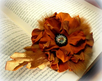 Leather Flower, Brooch