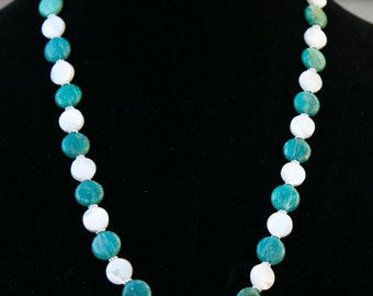 Pretty, long,  Green Amazonite and White Mother of Pearl necklace.