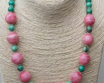 Fabulous beaded statement necklace with micro-faceted 6mm grass agate gemstones and huge 12mm micro-faceted rhodochrosite gemstones!