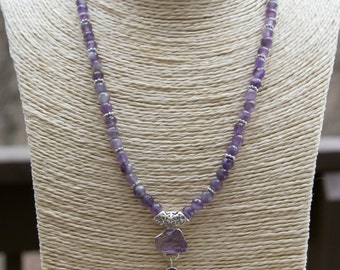 Purple Ameythst Lovers necklace with 4 different cuts of amethyst-faceted 6mm beads with a beautiful amethyst and silver pendant