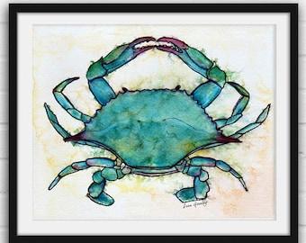 Blue Crab- Print of Original Watercolor and Ink, Painting, Illustration, Art, Wall Decor, Beach Wall Art Nautical Art