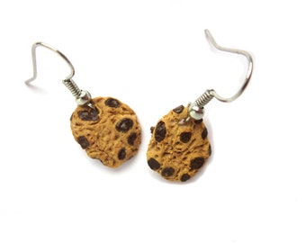 Colourful Polymer Clay Cookie Earrings, Chocolate Chip Cookie Jewellery, Cute Cookie Jewelry