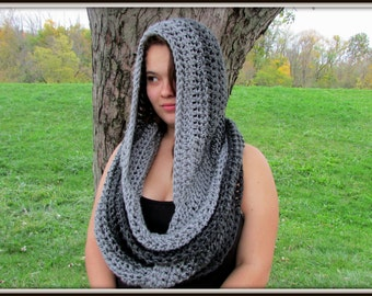 Gray Ombre Hooded Scarf, Hooded Cowl, Oversized, Crochet Hoodie, Chunky Scarf, Winter Scarf, Infinity Cowl, Scoodie