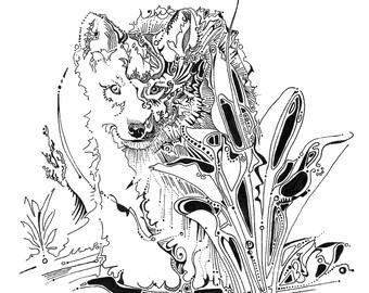 Wolf pup drawing wolf illustration wild wolf puppy fine art print wolf