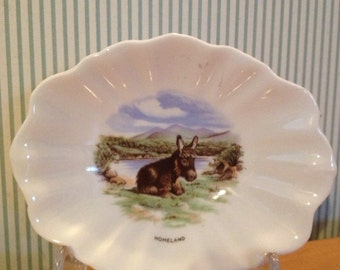 Vintage Royal Tara  Irish China Homeland Pin Dish With Donkey
