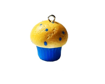 Blueberry Muffin Charm, Food Jewelry, Breakfast Jewelry, Polymer Clay Charms, Kawaii Charms, Mobile Accessories, Planner Charms, Miniatures