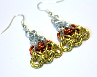 Thanksgiving Candy Corn Chainmaille Earrings - Halloween Party Earrings - Orange, yellow and silver earrings