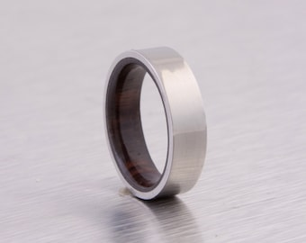 titanium wood ring flat band wedding ring cocobolo wood  ring