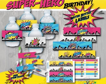 Girl SUPERHERO Party Water bottle Label & Free Straw Flags!Printable Superhero Party Decorations,Girl Superhero Birthday,Super Hero Birthday