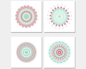 Boho wall art print set of prints teal wall art coral and turquoise mandala artwork wall decor set geometric living room decor bright decor