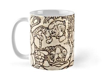 Critters / Ceramic Beverage Mug - Coffee, Tea, Hot Toddy, Etc / Whimsical Solar Art - Solar Pyrography Design
