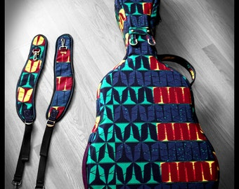 OOAK Ready-to-Ship Custom Guitar gig bag/case, Vlisco fabrics, removable/movable backpack straps, extra padded