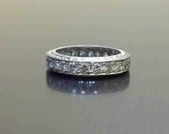 Platinum Diamond Eternity Band - Art Deco Hand Engraved Platinum Band - Eterntiy Diamond Platinum Engagement Band - Art Deco Engraved Band
