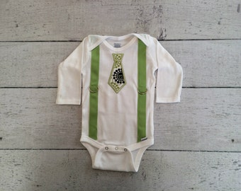 Baby Boy Tie Applique Onesie with Suspenders, Create Your Own!