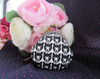 Kiss Lock Coin Purse Coins Bag Small Pouch black bear print (6cm)