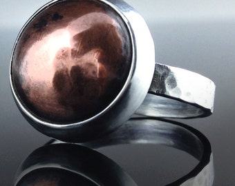 Dome Ring - Sterling Silver and Copper Dome Ring
