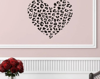 "Cheetah Print Heart Wall Decal (22"" X 19"")"