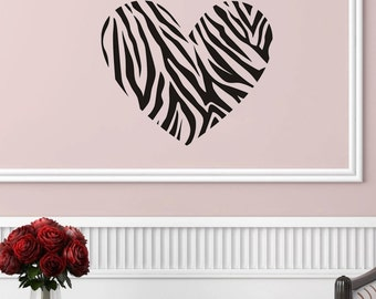 "Heart with Zebra Print Wall Decal (22"" X 19"")"