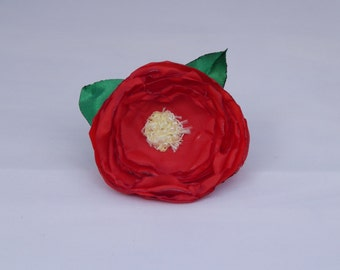 Adjustable cloth red rose ring