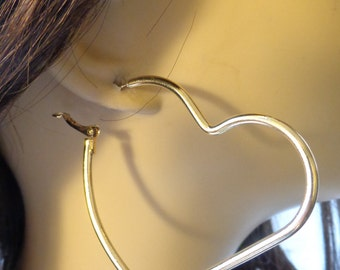 Large HEART Earrings Heavy Cast Metal Hoop Earrings Heart Hoops 2.5 inch GOLD tone