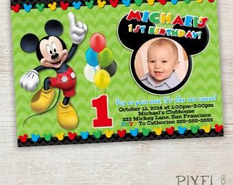 FIRST BIRTHDAY Mickey Mouse Birthday Invitation, Clubhouse Mickey, Birthday Invitations, Turning 1 Mickey Mouse Invitation, Photo Invitation