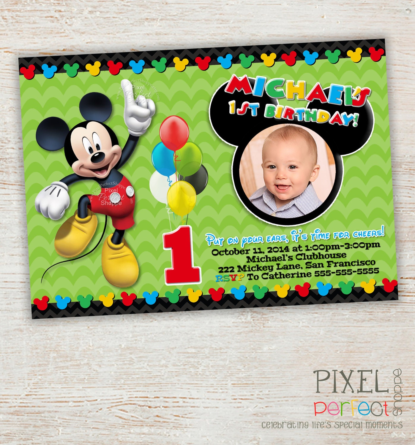 FIRST BIRTHDAY Mickey Mouse Birthday Invitation Clubhouse