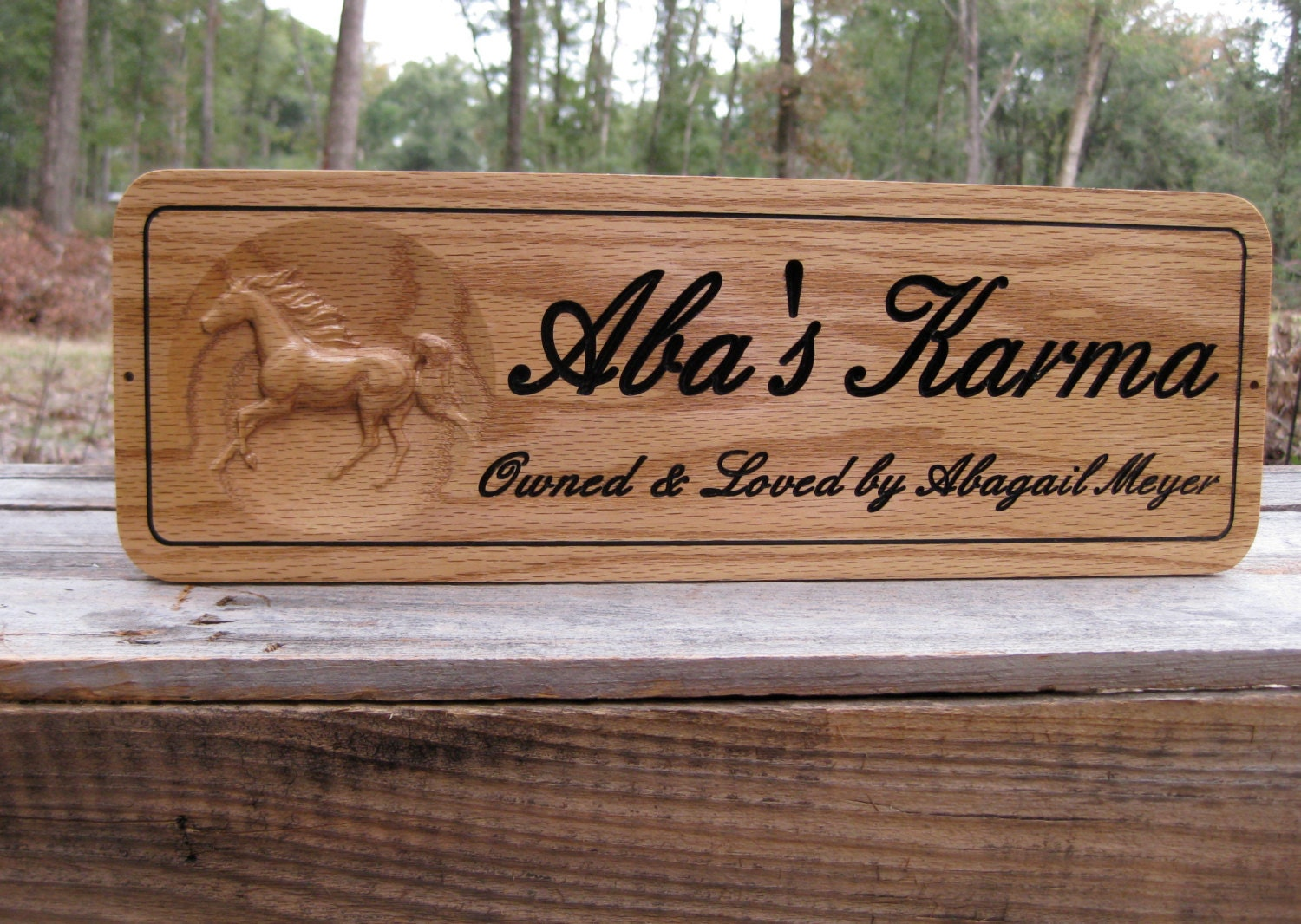 Personalized Horse Stall Sign Name Plate Barn Signs Red Oak