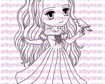 Digital Stamp - Lovely Irene(#173), Digi Stamp, Coloring page, Printable Line art for Card and Craft Supply