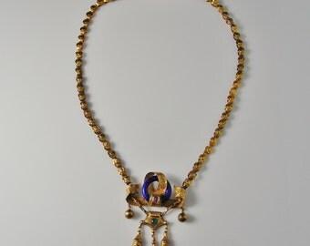 Victorian Necklace Enamel Necklace Natural Ruby Necklace Natural Emerald Necklace Victorian Jewelry Antique Gold Necklace Antique Jewelry