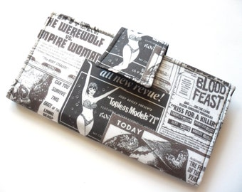 Horror Wallet, Vegan Clutch, Grindhouse Print, Bifold Wallet, Black and White, Gift for Her