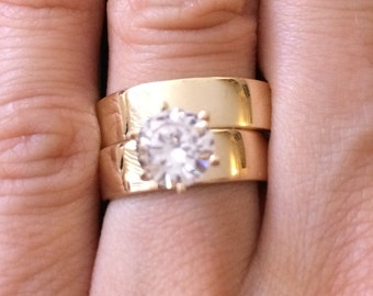 White Solitaire 14K Solid Gold Wide Band Ring