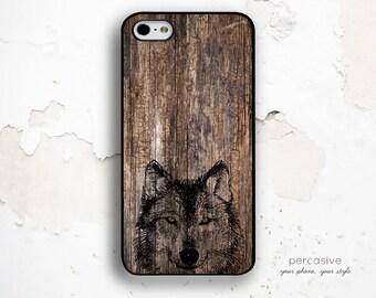 Wolf iPhone 6 Case - iPhone 4 Case, iPhone 4s Case, iPhone 5s Case, Wolf iPhone 6 Plus Case, Rustic Wood iPhone 6 Case Wolf :0442