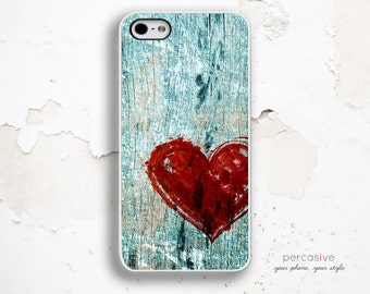 iPhone 6 Case Red Heart - Rustic Blue Wood iPhone 5 Case, iPhone 4 Case, iPhone 5c Case. iPhone 6 Case Painted Heart :0707